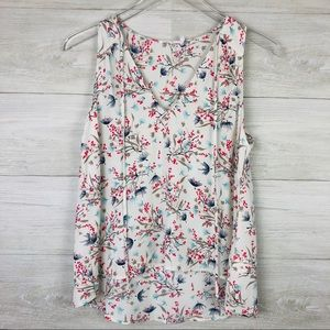 Lush Sleeveless Blouse with Birds and Flowers